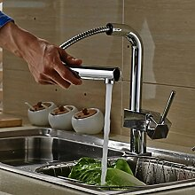 Auralum® Verchromt Armatur Küchenarmatur Kupfer Wasserhahn für Warm-Kaltwasser Küche Mischbatterie
