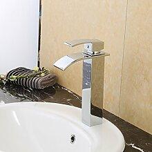 Auralum® Verlängerte Einhebel Waschtischarmatur Armatur Wasserfall Einhandmischer für Badzimmer