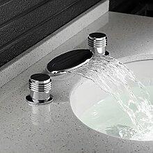 Auralum® Wasserhahn Waschtischarmatur Wasserfall Waschbecken Bad Armatur Zweigriffmischer
