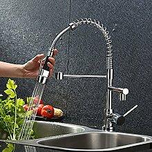 AURALUM Zeitgenössig Hochdruck Mischbatterie Spiralfeder Armatur Wasserhahn mit 2 Wasser Auslauf für Küche & Profiküche