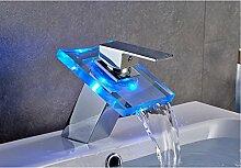 Auralum® Zeitgenössig LED RGB Glas Mischbatterie
