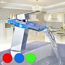 Auralum® Zeitgenössig LED RGB Glas Mischbatterie Wasserhahn Armatur Wasserfall für Waschtisch Waschtischarmatur Waschbecken Bad Badezimmer Küchen