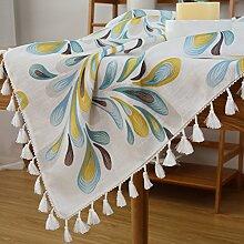 Aus Baumwolle Und Leinen Tischdecken/American Land Tischdecke/Tee Tischdecke/Tischtuch/Garten Frische Tischdecken-C Durchmesser150cm(59inch)
