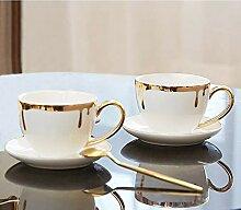 Aus weißer Keramik Kaffeetasse Set Einfachen