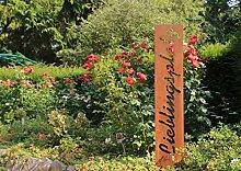ausBlechde Edelrost Gartenstele Lieblingsplatz