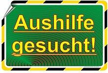 AUSHILFE GESUCHT / Mitarbeiter / Angesteller gesucht - SCHILD / D-077 (45x30cm Aufkleber)