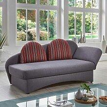 Ausklappbares Sofa in Grau und Rot gestreift