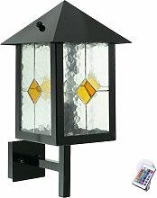 Außen Leuchte schwarz Fernbedienung Tiffany Glas