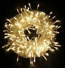 Außen Lichterkette CORST® 50m 300Led Licht Wasserdicht Party Lichterkette 8mode Weihnachten Leuchte mit EU-Stecker von DC31V Niederspannungstransformator (Warmweiß)