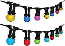 Außen Lichterkette Mit 10 LED Bunte Birnen, Mehrfarbig, 6.5 m, E27, 230V, Barcelonaled K_L1000