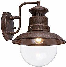 Außen Retro Wand Spot Lampe rostfarben Glas Stahl