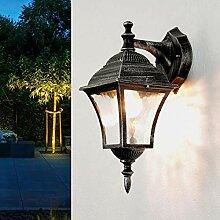 Außen Wandlampe Antik Silber Glas Laterne H:36cm