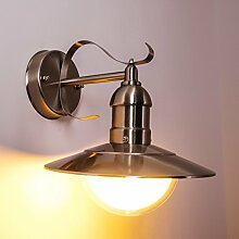 Aussen Wandlampe Broni – Wandleuchte im modernen Retro-Look aus Edelstahl mit mattem Schirm – Wandspot mit E27-Fassung für 60 Watt Leuchtmittel