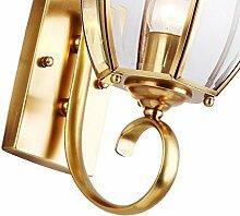 Außen-Wandleuchte Garten Lampen wasserdicht Wand Lampe Balkon Wandleuchte Kupfer Wandleuchte Retro Wandleuchte Außenleuchte Kupfer Lampe Lampen Mode (Größe: 24 * 45 CM)