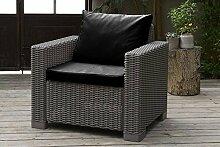 Außen Wasserfest 2-tlg Sitzkissen Set für Keter Allibert Kalifornien Rattan Sessel Gartenmöbel, Erhältlich in 11 Farben - Schwarz