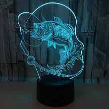 Außenhandel Karpfen 3d Lampe 7 Farbe
