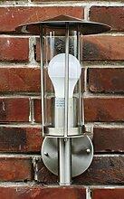 Außenlampe Edelstahl + Echtglas Außenleuchte Wandlampe Wandleuchte NEU