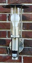 Außenlampe Edelstahl mit LED 7 Watt Außenleuchte Hoflampe IR Bewegungsmelder Energie-Effizienzklasse A+ NEU