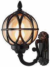 Außenlampe Vintage Gold/Schwarz Rund Wandlampe,
