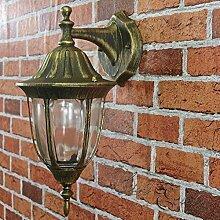 Außenlampe Wandleuchte Milano in schwarz-gold / E27 bis 60W IP44 / nostalgisch rustikaler Stil Außenleuchte