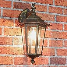 Außenlampe Wandleuchte Paris in antik-gold hängend / E27-Fassung bis 60 Watt 230V IP44 / Außenleuchte Wandlampe Hof Garten