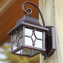 Außenleuchte 24 cm braun | Wand-Laterne im rustikalen Landhaus-Stil | Wandlampe mit geriffeltem Glas | antike Terrassenbeleuchtung E27 | Außenwandleuchte IP44 + winterfest + dimmbar