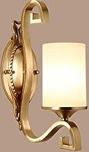 Außenleuchte All-Kupfer Single Head E27 Wandleuchte LED Einfache moderne Nachttischlampe Korridor Wandleuchte Gehweg Beleuchtung Schlafzimmer Wandleuchte 1116-1W