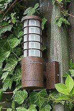 Außenleuchte Aluminium 22,5 cm | Wandleuchte rostfarbend braun | rustikale Wandlampe | Terrassenbeleuchtung rund | Außenwandleuchte E27 + Wand-Laterne IP54 + winterfest + dimmbar