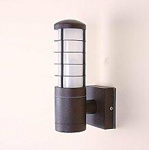 Außenleuchte Aluminium 22,5 cm   Wandleuchte rostfarbend braun   rustikale Wandlampe   Terrassenbeleuchtung rund   Außenwandleuchte E27 + Wand-Laterne IP54 + winterfest + dimmbar
