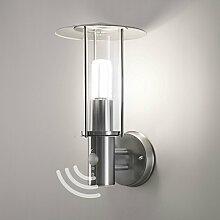 Aussenleuchte Ausenwandleuchte Aussenlampe Wandleuchte Wandlampe mit Bewegungsmelder Edelstahl Glas E27 Fassung 258A1