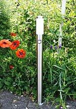 Außenleuchte / Außenlampe / Standlampe / Standleuchte / Wegeleuchte / Weglampe / Hoflampe / Hofleuchte / Gartenlampe / Gartenleuchte / Gartenbeleuchtung aus Edelstahl mit Infrarot-Bewegungsmelder, Höhe 110cm