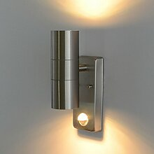 Außenleuchte Aussenwandleuchte Außenlampe Edelstahl Wandleuchte mit Bewegungsmelder 109E Eingangsleuchte Lampe