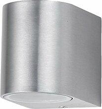Außenleuchte einflammig silber | Design Leuchte Hauswand Fassaden Wandlampe | Strahler Wegbeleuchtung ALU Wasserdicht IP44
