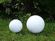 Aussenleuchte Gartenleuchte Gartenlampe Kugelleuchte im 2er Set (20+30cm) Marlon, Kugellampe mit Erdspieß, E27, Dekoration