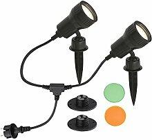 Außenleuchte, Gartenleuchte, Wegeleuchte, 2er Set, 2 x LED GU10 3W 250lm, inkl. Farbfilter orange, grün, inkl. Erdspieß und Wandhalterung, Kopf schwenk- und drehbar, inkl. Steckerzuleitung 2,0m, IP44, schwarz