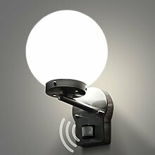 Aussenleuchte mit Bewegungsmelder Wandleuchte Aussenwandleuchte Wandlampe Gartenleuchte Edelstahl Glas E27 270 LED 4W neutralweiß