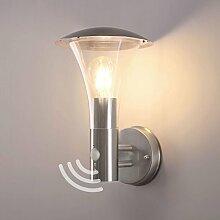 Aussenleuchte mit Bewegungsmelder Wandleuchte Wegeleuchte Wandlampe Aussenwandleuchte Edelstahl E27 Fassung Aussenwandlampe 243