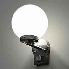Aussenleuchte mit Bewegungsmelder Wandleuchte Wegeleuchte Wandlampe Gartenleuchte Edelstahl Glas E27 270A1 LED 14W warmweiß