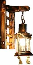Außenleuchte Südostasien-Wandlampen-Beleuchtung - Bambuslaterne-Antiken-Laterne-Gasthaus-Bauernhaus-Wand-Lampen
