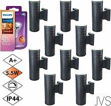 Außenleuchte Wandleuchte Wandlampe Dimmbar VENEZIA (Schwarz matt) Rund inkl. 10 x VENEZIA IP44 Eingangsleuchte (Rund) 20 x LED GU10 5.5W PHILIPS Warmweiß
