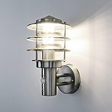 Aussenleuchte Wandleuchte Wandlampe Gartenleuchte Edelstahl E27 mit Bewegungsmelder 249A1