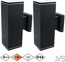 Außenleuchte Wandleuchte Wandlampe VENEZIA (Schwarz matt) Eckig inkl. 2 x VENEZIA IP44 Eingangsleuchte (Quadratisch) 4 x LED GU10 1W Warmweiß