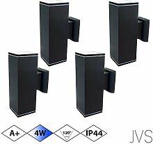 Außenleuchte Wandleuchte Wandlampe VENEZIA (Schwarz matt) Eckig inkl. 4 x VENEZIA IP44 Eingangsleuchte (Quadratisch) 8 x LED GU10 4W Kaltweiß