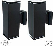 Außenleuchte Wandleuchte Wandlampe VENEZIA (Schwarz matt) Eckig inkl. 2 x VENEZIA IP44 Eingangsleuchte (Quadratisch) GU10- ohne Leuchtmittel
