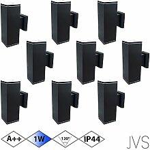 Außenleuchte Wandleuchte Wandlampe VENEZIA (Schwarz matt) Eckig inkl. 9 x VENEZIA IP44 Eingangsleuchte (Quadratisch) 18 x LED GU10 1W Kaltweiß