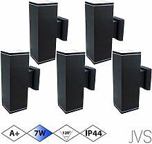 Außenleuchte Wandleuchte Wandlampe VENEZIA (Schwarz matt) Eckig inkl. 5 x VENEZIA IP44 Eingangsleuchte (Quadratisch) 10 x LED GU10 7W Kaltweiß