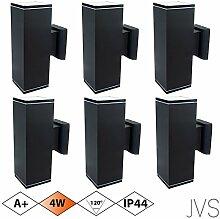 Außenleuchte Wandleuchte Wandlampe VENEZIA (Schwarz matt) Eckig inkl. 6 x VENEZIA IP44 Eingangsleuchte (Quadratisch) 12 x LED GU10 4W Warmweiß