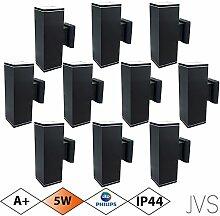 Außenleuchte Wandleuchte Wandlampe VENEZIA (Schwarz matt) Eckig inkl. 10 x VENEZIA IP44 Eingangsleuchte (Quadratisch) 20 x LED GU10 5W PHILIPS Warmweiß