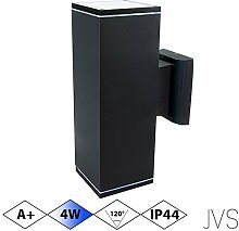 Außenleuchte Wandleuchte Wandlampe VENEZIA (Schwarz matt) Eckig inkl. 1 x VENEZIA IP44 Eingangsleuchte (Quadratisch) 2 x LED GU10 4W Kaltweiß