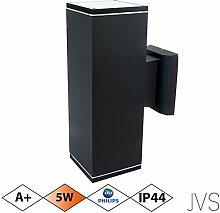 Außenleuchte Wandleuchte Wandlampe VENEZIA (Schwarz matt) Eckig inkl. 1 x VENEZIA IP44 Eingangsleuchte (Quadratisch) 2 x LED GU10 5W PHILIPS Warmweiß